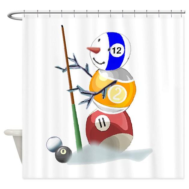 Billiards Ball Snowman Shower Curtain By Shopspringdale
