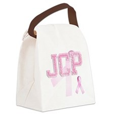 JCP initials, Pink Ribbon, Canvas Lunch Bag