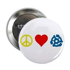 Peace, Love & Vinyl Button