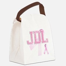 JDL initials, Pink Ribbon, Canvas Lunch Bag