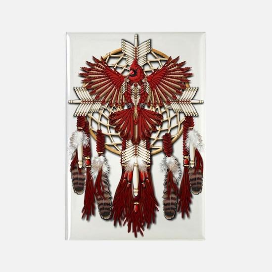 Native American Cardinal Mandala Rectangle Magnet