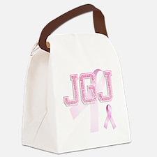JGJ initials, Pink Ribbon, Canvas Lunch Bag