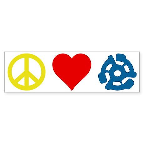 Peace, Love & Vinyl Bumper Sticker