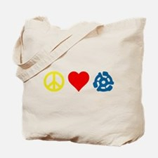 Peace, Love & Vinyl Tote Bag, two sided printing