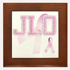 JLO initials, Pink Ribbon, Framed Tile