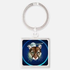 Circle Midnight Mountain Lion. Square Keychain