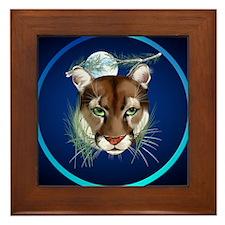 Circle Midnight Mountain Lion. Framed Tile