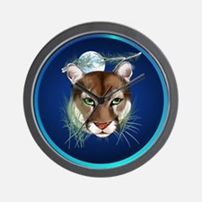 Circle Midnight Mountain Lion. Wall Clock