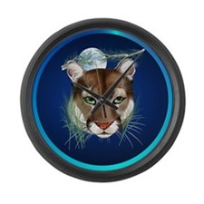 Circle Midnight Mountain Lion. Large Wall Clock