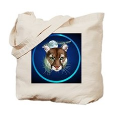 Circle Midnight Mountain Lion. Tote Bag