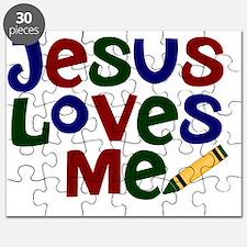 Jesus Loves Me - Kids Handwriting -Dark Blu Puzzle