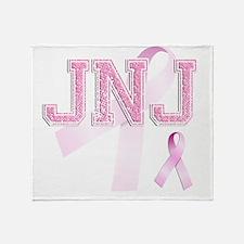 JNJ initials, Pink Ribbon, Throw Blanket