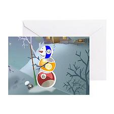 Billiards Ball Snowman Greeting Cards (Pk Of 20)