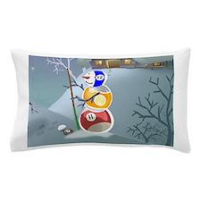 Billiards Ball Snowman Pillow Case