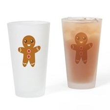 Cute and Happy Christmas Gingerbread Man Drinking
