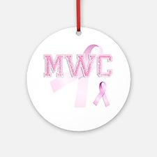 MWC initials, Pink Ribbon, Round Ornament