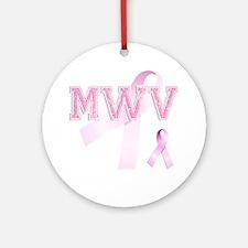 MWV initials, Pink Ribbon, Round Ornament