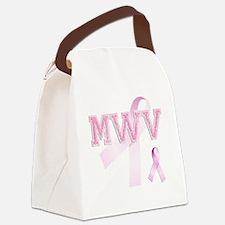 MWV initials, Pink Ribbon, Canvas Lunch Bag