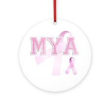 MYA initials, Pink Ribbon, Round Ornament