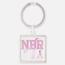 NBR initials, Pink Ribbon, Square Keychain