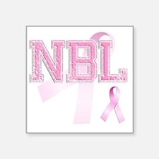 "NBL initials, Pink Ribbon, Square Sticker 3"" x 3"""
