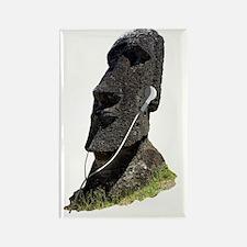 Moai Head Ear Buds 1 Rectangle Magnet