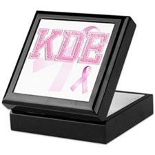 KDE initials, Pink Ribbon, Keepsake Box