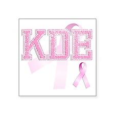 """KDE initials, Pink Ribbon, Square Sticker 3"""" x 3"""""""