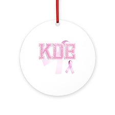 KDE initials, Pink Ribbon, Round Ornament