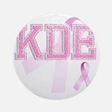 KDE initials, Pink Ribbon, Round Ornament