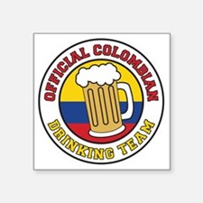 "Official Colombian Drinking Square Sticker 3"" x 3"""