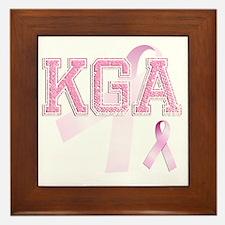 KGA initials, Pink Ribbon, Framed Tile