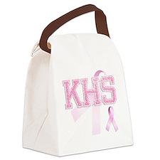 KHS initials, Pink Ribbon, Canvas Lunch Bag