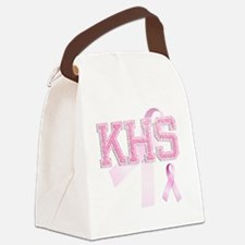 KHS initials, Pink Ribbon, Canvas Lunch Bag