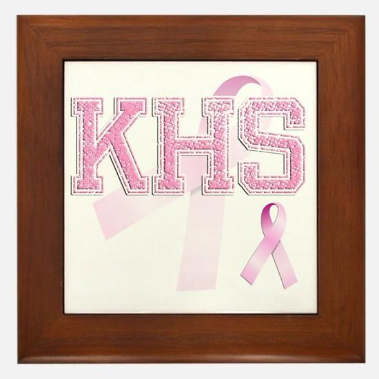 KHS initials, Pink Ribbon, Framed Tile