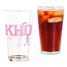 KHQ initials, Pink Ribbon, Drinking Glass