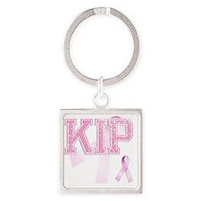 KIP initials, Pink Ribbon, Square Keychain