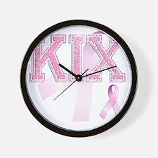 KIX initials, Pink Ribbon, Wall Clock