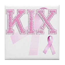 KIX initials, Pink Ribbon, Tile Coaster