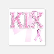 """KIX initials, Pink Ribbon, Square Sticker 3"""" x 3"""""""
