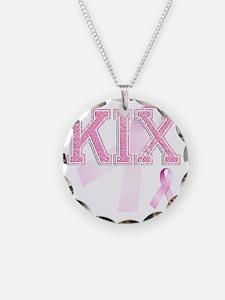 KIX initials, Pink Ribbon, Necklace
