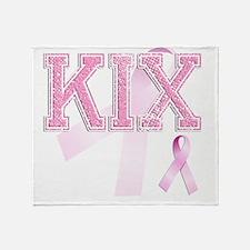 KIX initials, Pink Ribbon, Throw Blanket