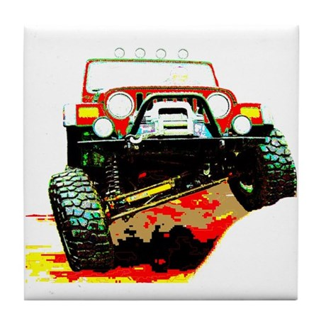 Jeep rock crawling Tile Coaster