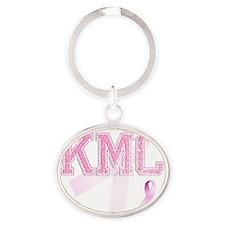 KMC initials, Pink Ribbon, Oval Keychain