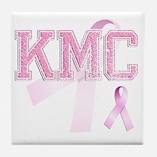 KMC initials, Pink Ribbon, Tile Coaster