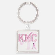 KMC initials, Pink Ribbon, Square Keychain