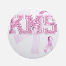 KMS initials, Pink Ribbon, Round Ornament