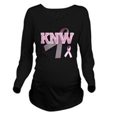 KNW initials, Pink R Long Sleeve Maternity T-Shirt