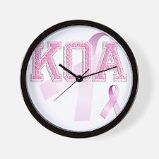 KOA initials, Pink Ribbon, Wall Clock