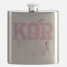 KOR initials, Pink Ribbon, Flask